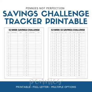 52 Week Savings Challenge Tracker Printable Bundle | Money Challenge Trackers | Savings Tracker PDF - Pennies Not Perfection