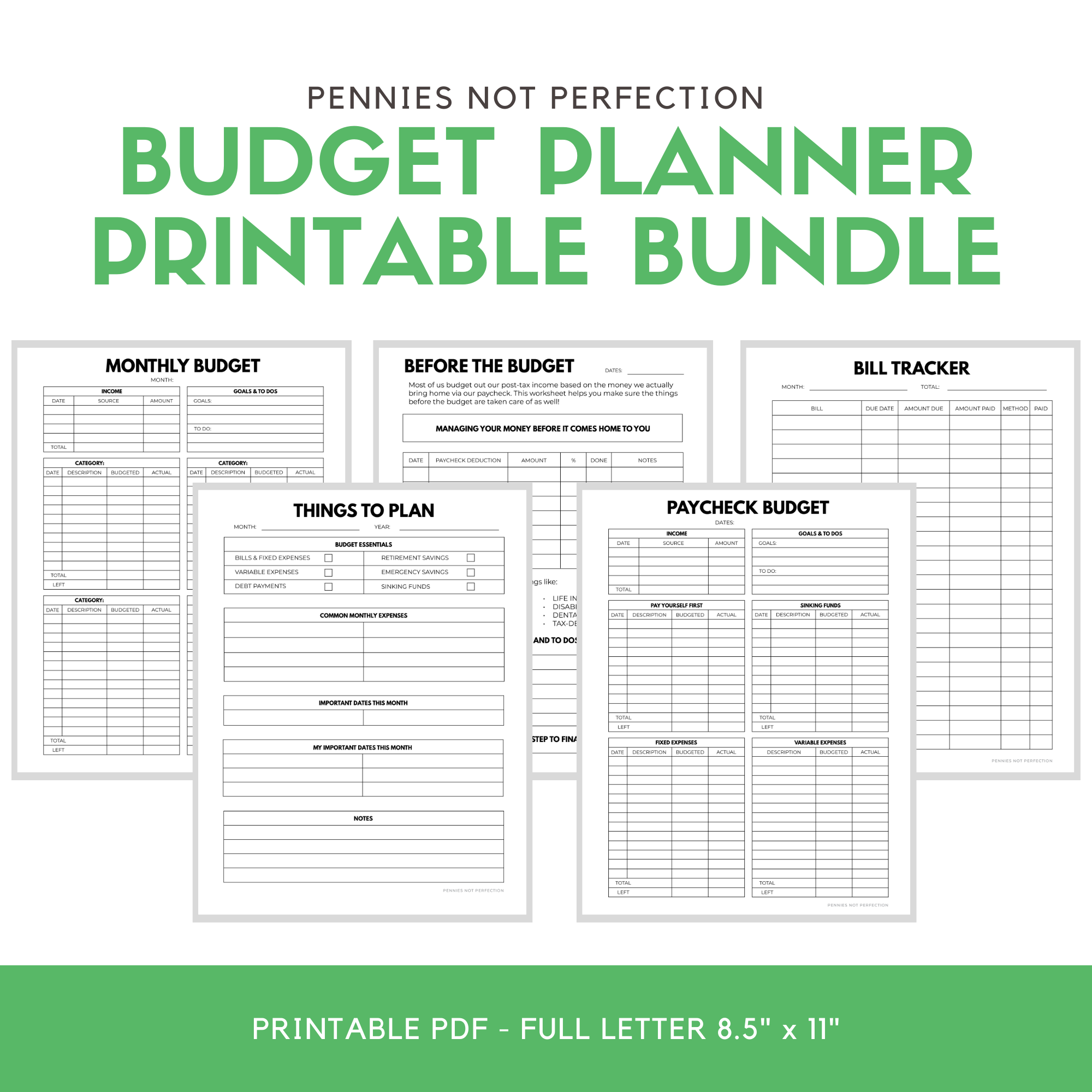 Monthly Budget Planner Monthly Budget Tracker Printable