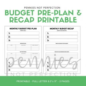 Budget Preplanning Printable - Pennies Not Perfection