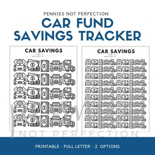 Car Fund Savings Tracker | Car Savings Goal Tracker | Savings Printable PDF - Pennies Not Perfection