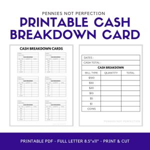 Cash Breakdown Cards Monthly Budget Printable - Pennies Not Perfection