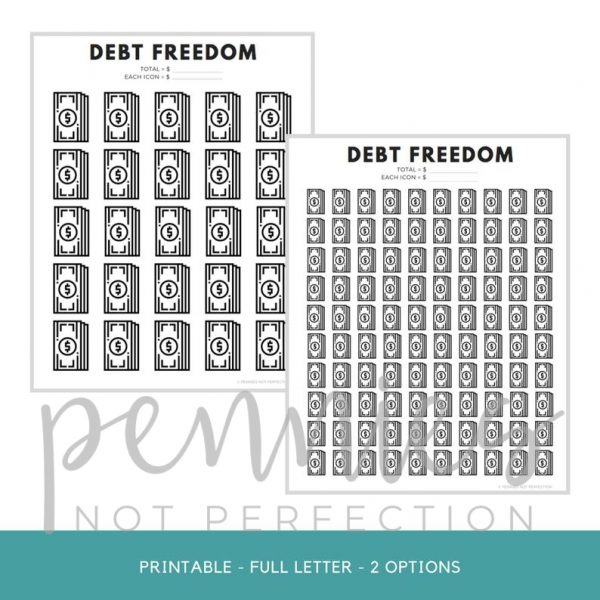 Debt Freedom Tracker | Debt Payoff Tracker Coloring Sheet - Pennies Not Perfection
