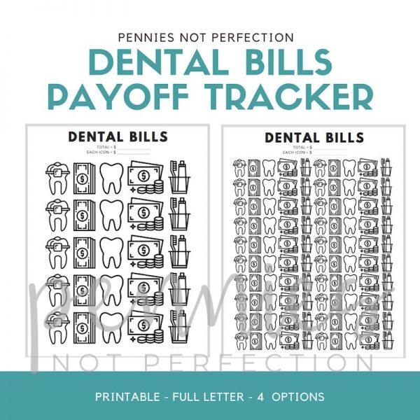 Dental Bills Debt Payoff Tracker   Dental Debt Payoff Printable - Pennies Not Perfection