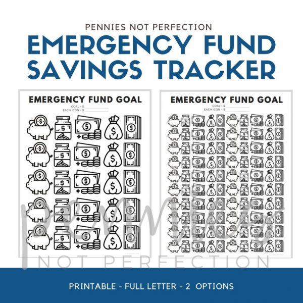 Emergency Fund Savings Tracker | Savings Tracker | Savings Printable