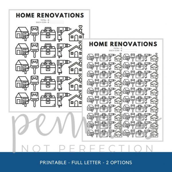 Home Renovations Savings Goal Tracker | Home Reno Savings Tracker - Pennies Not Perfection