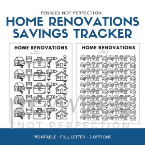 Home Renovations Savings Goal Tracker | Home Reno Savings Tracker - Pennies Not Perfection