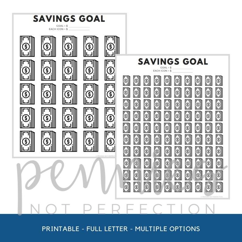 Money Savings Goal Tracker Dollar Bills Savings Tracker Printable