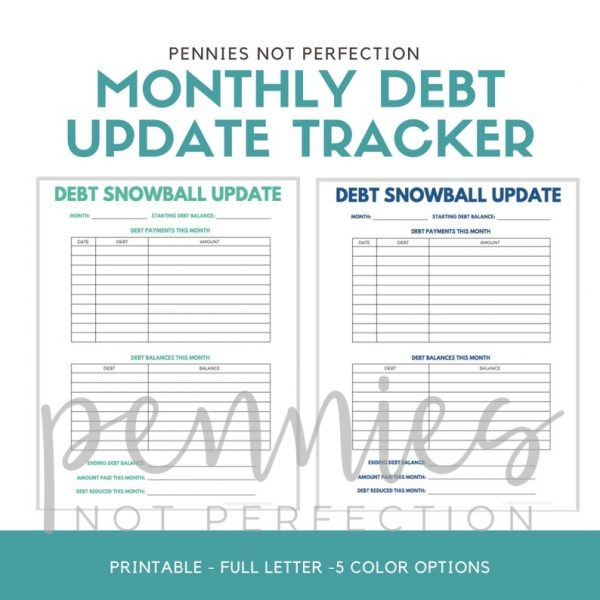 Monthly Debt Update Tracker | Debt Snowball Tracker Printable - Pennies Not Perfection