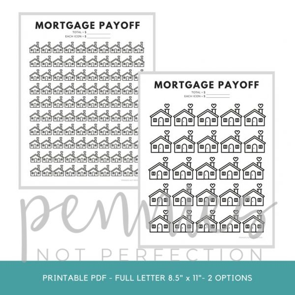 Mortgage Payoff Tracker Printable | Mortgage Debt Payoff Tracker - Pennies Not Perfection 1