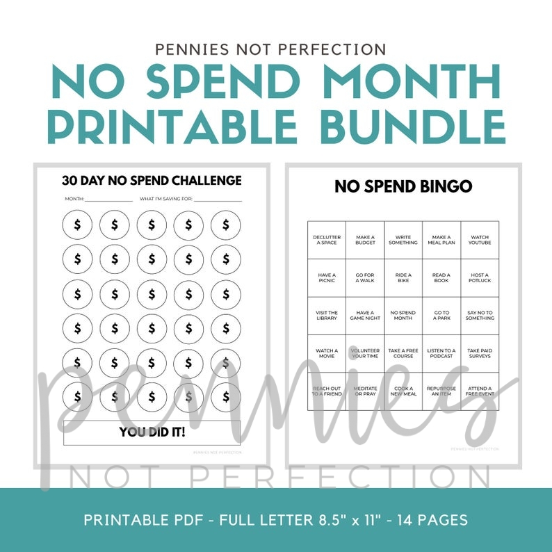 No Spend Month Challenge Printable PDF - Pennies Not Perfection