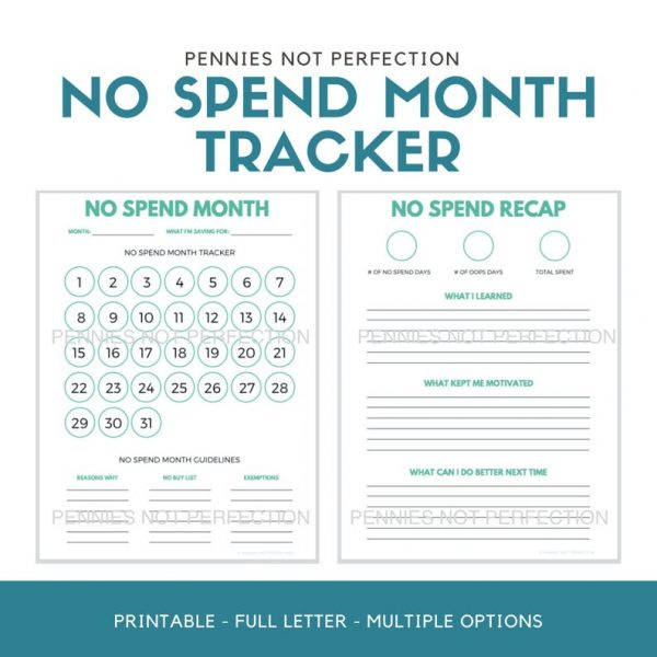 No Spend Month Tracker | No Spend Challenge Printable