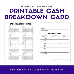 Printable Cash Breakdown Card | Cash Count Sheet Printable