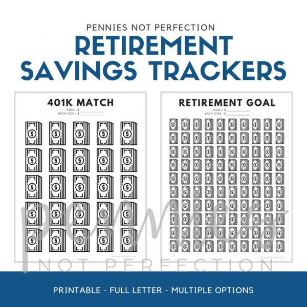 Retirement Savings Tracker Printables Bundle | 401K Roth IRA Retirement Trackers | Savings Tracker PDF