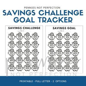 Savings Challenge Goal Tracker Printable | Piggy Bank Savings Goal Tracker - Pennies Not Perfection