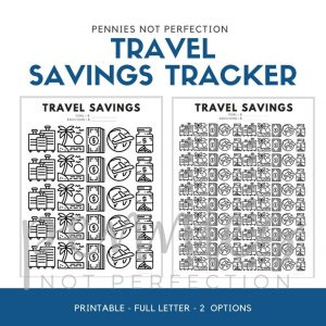 Travel Savings Goal Tracker | Travel Fund Savings Tracker Printable - Pennies Not Perfection