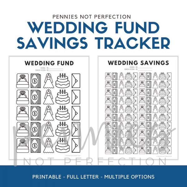 Wedding Savings Goal Tracker | Wedding Fund Savings Tracker Printable PDF - Pennies Not Perfection