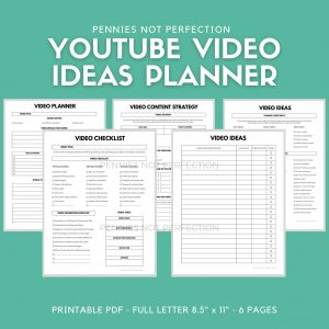 YouTube Video Ideas Planner | Video Series Planner & Checklist Printable | Video Content Ideas Planner