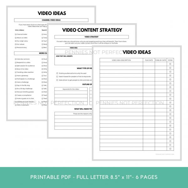 YouTube Video Ideas Planner | Video Series Planner & Checklist Printable | Video Content Ideas Planner 5