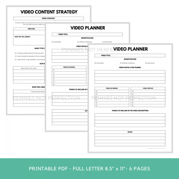 YouTube Video Ideas Planner | Video Series Planner & Checklist Printable | Video Content Ideas Planner Download 3