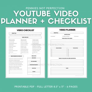 YouTube Video Planner | YouTuber Vlog & Video Organizer Planner Video Checklist Printable