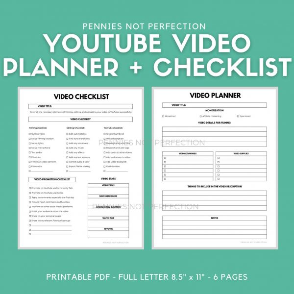 YouTube Video Planner | YouTuber Vlog & Video Organizer Planner Video Checklist Printable